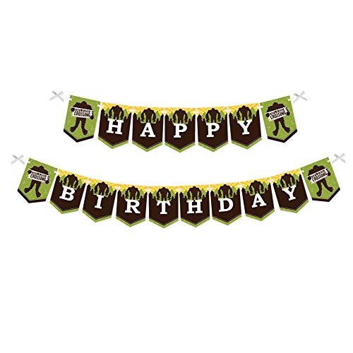 Big Dot of Happiness Sasquatch Crossing - Bigfoot Birthday Party Bunting Banner - Birthday Party Decorations - Happy Birthday