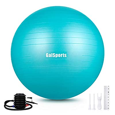 GalSports Exercise Ball (45cm-75cm), Anti-Burst Yoga Ball Chair with Quick Pump, Stability Fitness Ball for Birthing & Core Strength Training & Physical Therapy (Turkis, XL (68-75cm))
