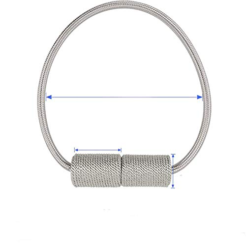 HelloTree 4 Packungen Magnetvorhanggurte, Vorhang Raffhalter Vorhang Clipszylindrische Vorhangschnalle, Vorhangkette für Home-Office-Schlafzimmer Wohnzimmervorhang, grau