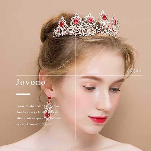 Jovono Juego de coronas y pendientes de boda para novia, corona dorada con diamantes de imitación rojos para mujer