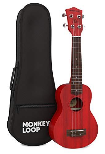 Monkey Loop - Serie Stone - Ukelele Soprano - Funda Incluida - Color Rojo - Fabricado en Madera Sapeli - Cuerdas Aquila - Clavijeros Plateados y Cerrados - Materiales Resistentes - Alta Calidad