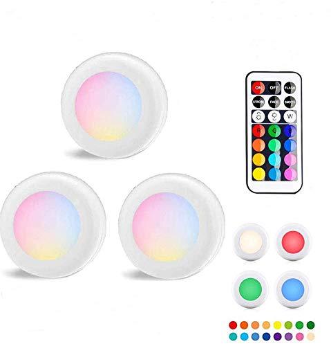TECHVIDA 3 PCS Luces LED de Disco Inalámbricas, Iluminación para Muebles de Cocina con Control Remoto, Luces para Clóset, Luces a...