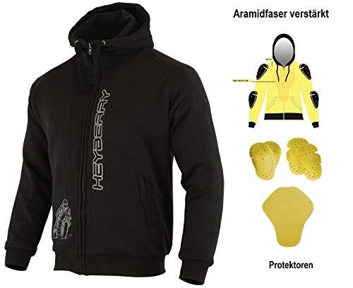 HEYBERRY Aramid Hoody Motorradjacke Hoodie Roller Jacke Schwarz Gr. XL