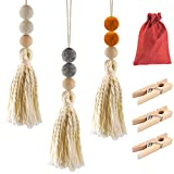 3 Pack Felt Ball Car Essential Oil Diffusers- Adorable Car Vent Diffuser Ornaments with Tassel Rustic Fragrance Diffuser with 3 Wood Clips Red Burlap Bag for Car Auto Air Fresher (Gray Orange& Beige)