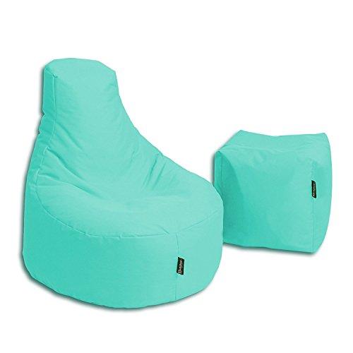 BuBiBag Sitzsack Stillkissen Set Kissen Lounge Gamer Sitzsack Sessel original Sitzkissen In & Outdoor geeignet fertig befüllt in 32 Farben (Pacific)