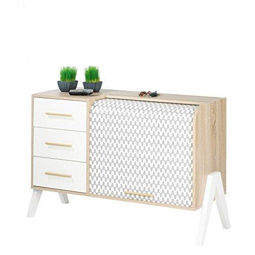 SIMMOB–Mueble de Entrada Vintage Cortina Olas 3cajones Blancos–Colores de los pies–pies Blancos