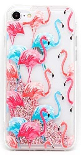 Coovertify Funda Rosa Agua Flamencos Rosa y Azules Samsung J7 2017, Carcasa con Glitter Purpurina Brillante escarchada TPU Silicona con liquido Interior para Samsung Galaxy J7 2017 (J730)