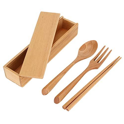Emoshayoga Portable Reusable Flatware Chopsticks Fork Spoon Travel Cutlery Wooden for Office