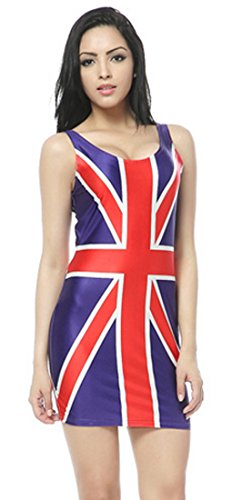 Thenice Women's Sexy Slim Dress Elasticity Vest, British Flag, Size One Size