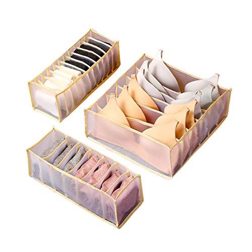 Aitaolian Caja Plegable De Almacenamiento De La Ropa Interior, Caja De Almacenamiento del Armario del Organizador del Cajón Plegable para La Ropa Interior De La Ropa Interior, (6 + 7 + 11 Células)