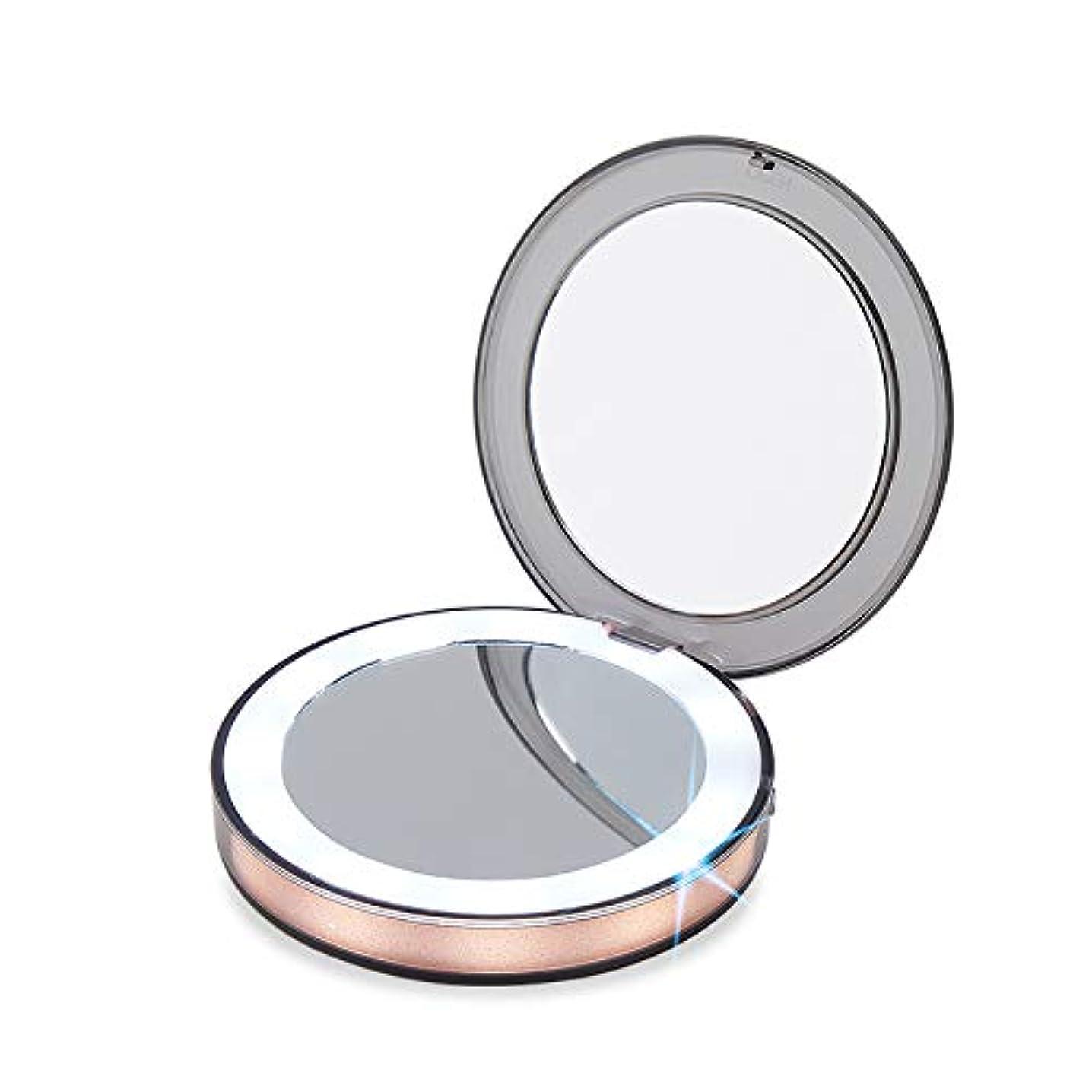 不規則性取り壊す種GINEAN 照明を有する旅行装飾鏡のタッチスイッチ装飾鏡の 1 倍/3 倍ルーペの手持ち式折り畳み式コンパクトミラー LED ライト化粧品用キャンプ個人の用途と旅行
