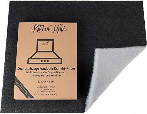 Kitchen Helpis® Filtres combiné pour hotte aspirante - Filtres à Charbon actif et à graisse 57x47 cm, Filtres cuisine doubles, Découpables sur mesure Universel, pour toutes les hottes standard