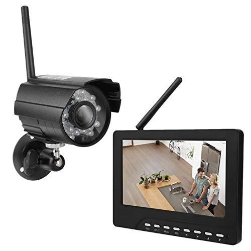 Juego de equipo de cámara inalámbrica HD de 7 ', pantalla táctil, monitor de video inalámbrico, cámara, sistema de visión nocturna, video doméstico, visión nocturna, ángulo de cámara de 70 °(Negro)