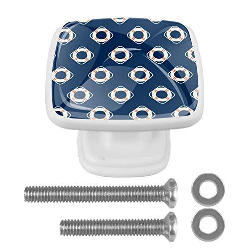 [4 unidades] Tirador de cajón de cristal con tornillos para el hogar, la oficina, el armario, el armario, el barco, el viaje náutico, azul