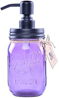 purple glass soap dispenser