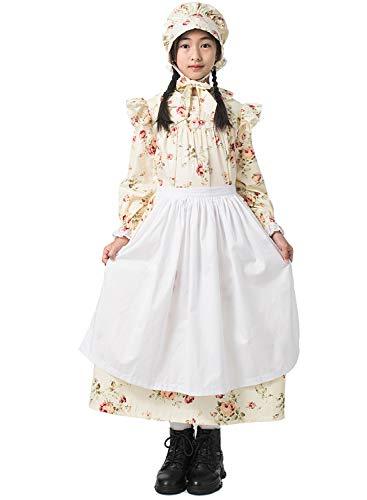 GRACEART Mädchen Viktorianisch Pioneer Kolonial Kostüm Prairie Kleid 100% Baumwolle (Gelb, US-7)
