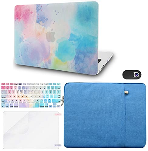 """KECC Laptop Case Compatible with MacBook Air 13"""" Retina (2021/2020, Touch ID) w/Keyboard Cover + Sleeve + Screen Protector + Webcam Cover Plastic Hard Shell Case A2337 M1 A2179 (Rainbow Mist 2)"""