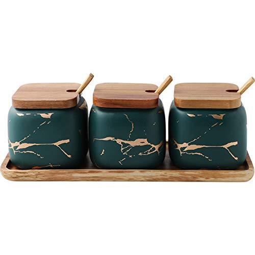 Azucarero, Moderno 300 ML Envase(10.5 OZ) Cuenco De Cerámica Y Tapa De Bambú, Incluye Cuchara, Cocina Utensilios Conjunto 3 Piezas De Hogares Sirviendo Para Azúcar, Sal, Especias,Verde