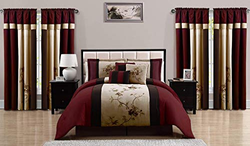 Chezmoi Collection Vienna 7-Piece Embroidered Floral Comforter Set (Queen, Burgundy Taupe Brown)