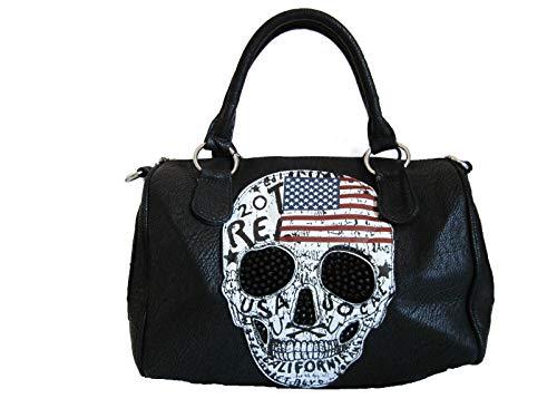Jn Gianni Handtasche mit USA Totenkopf Schultertasche Damen Tasche Skull Flagge Amerika