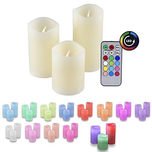 Ioio LED Echtwachs Kerzen RGB Farbwechsel 3er Set mit Fernbedienung und Timer