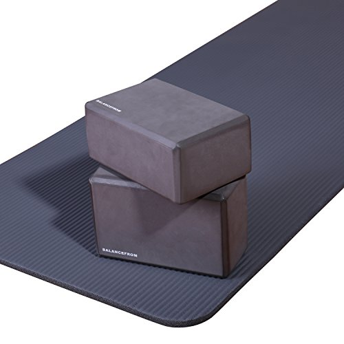 BalanceFrom BFGY-AP6GY Go Yoga All Purpose Anti-Tear Exercise Yoga Mat with Carrying Strap, Gray