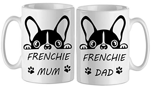 bubbleshirt Tazza Mug Doppia Frenckie Mum e frenckie Dad - Mamma e papà - Bulldog Francese - Idea Regalo