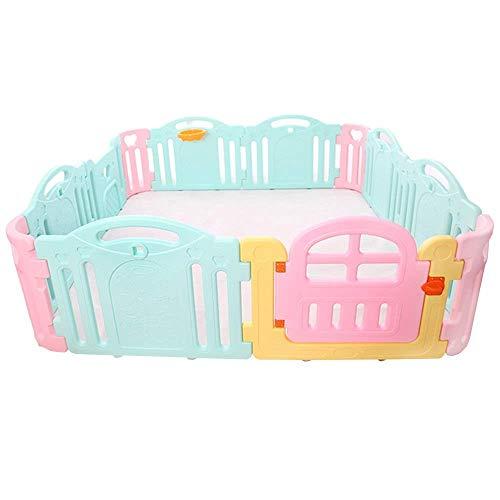 Babybox, Kinderveiligheidsactiviteitencentrum met deur Binnen Buiten Kunststof Speeltuin Draagbare scheidingswand-12 paneel (roze/blauw) (kleur: A, afmeting: 12 stuks-200x200x62cm)