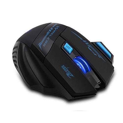 Zelotes Schnurlos Maus Wireless Mouse, 2,4 GHz 7 Tasten 2400dpi blau LED optische Gaming gamer Maus kabellos Mäuse für Notebook, PC, Mac, Laptop (schwarz)