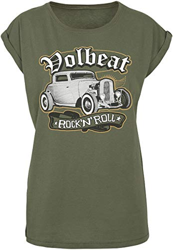 Volbeat Rock'n'Roll Frauen T-Shirt Oliv XXL 100% Baumwolle Band-Merch, Bands
