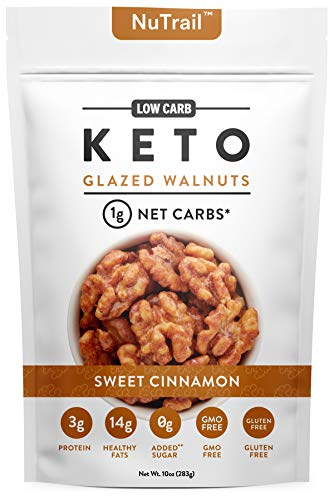 NuTrail™ - Keto glazed nuts Snack - Delicious Healthy Nut Mix - Only 1 Net Carb Per Serving - Keto Snacks & Low Carb Food (10 oz) (Glazed Walnuts)