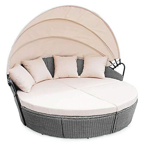 Evre Bali Day Bed Outdoor Garden Furniture Set With Canopy - Dark Grey