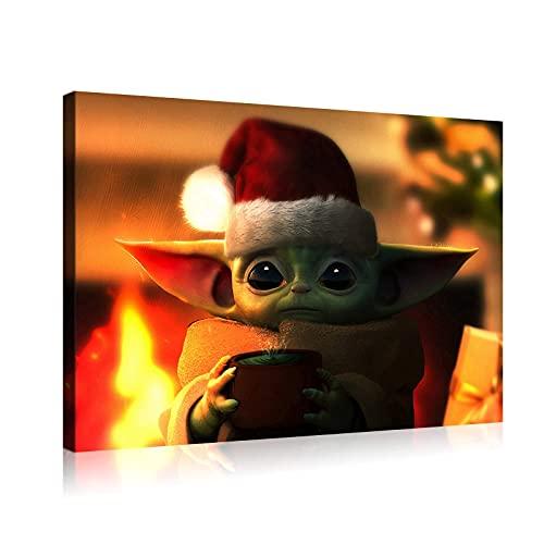 """Póster de Star Wars con texto en inglés """"Yoda"""" para decoración de la pared de 12 x 18 pulgadas enmarcado"""