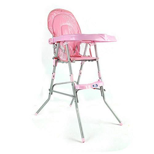 Trona para bebé, ajustable y plegable, trona portátil para niños de 6 meses a 3 años (color rosa)