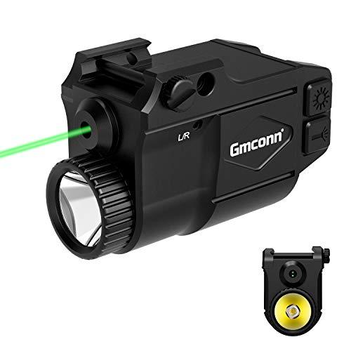 Gmconn Gun Light Weapon Pistol Flashlight 650 Lumen with Green Laser Sight Combo, Built in USB Rechargeable Battery
