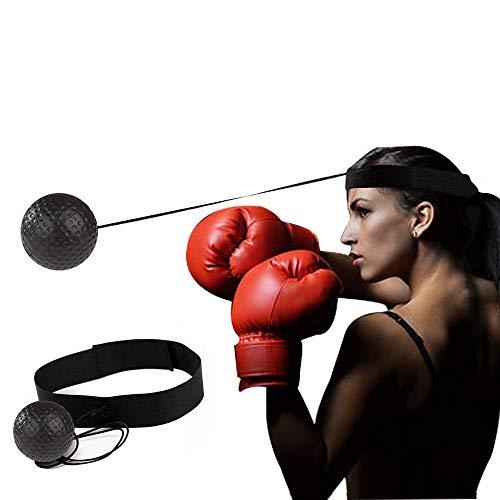 Bpuls, palla da boxe reflex, portatile, con fascia per allenamento, per reazione, agilità, velocità di pugno, abilità di combattimento e coordinazione occhio-mano, Nero