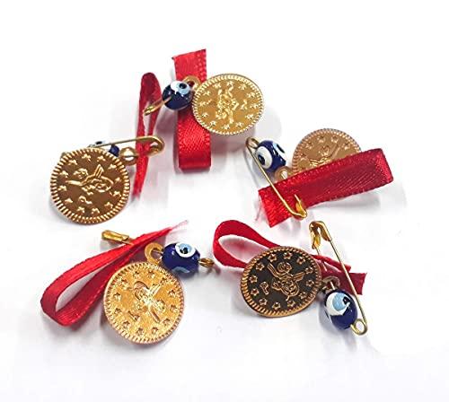 100 unidades Nazar Boncuk con cuentas metálicas esmaltadas Tugra, imperdible de seguridad y cordón, amuleto de la suerte, ojo azul, para regalo de bod