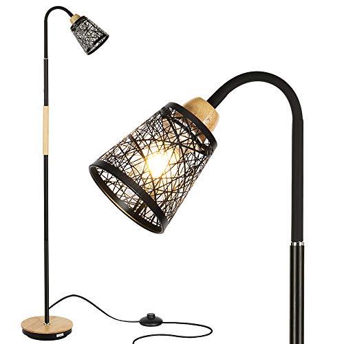 Lámpara de Pie, Luz de Lectura Moderna con Cuello de Cisne Flexible para Sala de Estar, Dormitorio, Oficina - Negro (sin Bombilla)