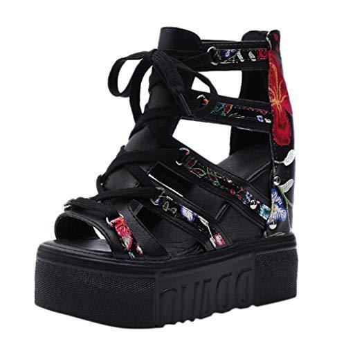 Vectry Verano Sandalias De Cuña De Las Mujer Flor De Tacón Alto Correas Cruzadas Moda Sandalias Romanas Calzado Casual 2019 Zapatos Mujer