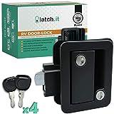LATCH.IT Black RV Door Latch | RV Door Locks for Travel Trailers | Travel Trailer Door Latch | 100% Metal Camper Door Lock w/ 4 Camper Keys | Trailer Door Lock is Easy-to-Install & Fits Most!