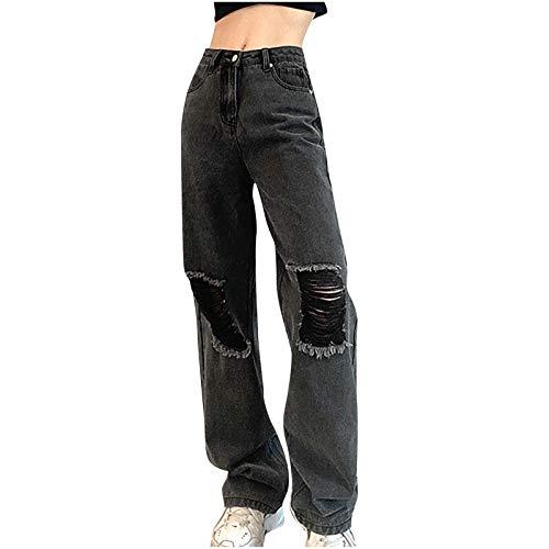 pamkyaemi Pantalones vaqueros para mujer rasgados, estilo casual, holgados, estilo boyfriend, largos, pernera ancha, pantalones vaqueros de vestir elegantes, pantalones rectos, gris, XXL