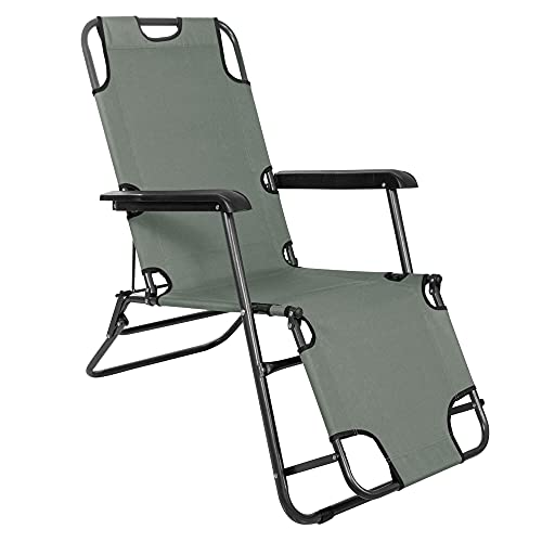 SPRINGOS Sonnenliege m. Armlehnen Premium-Gartenliege einstellbare Relaxliege 3 Positionen max. Belastbarkeit 120 kg Freizeitliege klappbar Anti-Rutsch-Komponenten (Grüngrau)