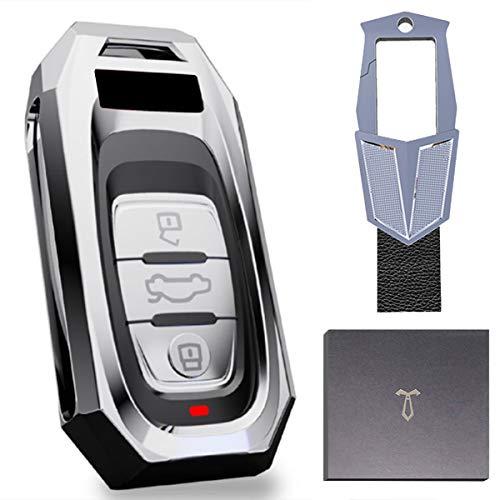 Funda de para Llave Audi, 3 botones funda llave con Llavero para A1 A2 A3 A4 A5 A7 Q1 Q3 Q5 TT Funda