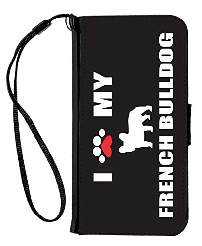 Paw Print I Love My - French Bulldog Silhouette - Faux Leather Flip Wallet Case for iPhone 6/6s Case Cover