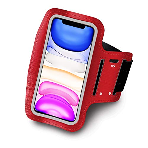 Sportarmband kompatibel mit Samsung Galaxy S10 X 5G Running Sport Armband Neopren Einstellbar Klettverschluss Anti-Schweiß rutschfest Tasche für Schlüssel Kopfhörer (Rot)