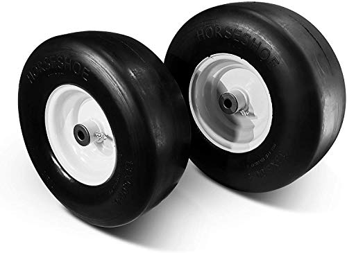 HORSESHOE New 13x5.00-6 Flat Free Smooth Tire w/Steel Wheel for Residential Riding Lawn Mower Garden Tractor -hub Length 3.25'-5.9' - Bore ID 3/4' 135006 (2)