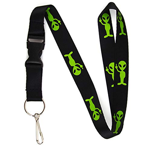 Alien w/ Middle Finger Lanyard Keychain and ID Holder with Detachable, Breakaway Buckle for Keys or Badge - Durable Black Nylon - Funny Space Novelty Necklace