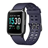 WUAZ Fitness Tracker, Activity Smart Wristband Bracelet with Heart Rate Blood Pressure Sleep Monitor Pedometer Weather Music Control Waterproof IP68,Blue