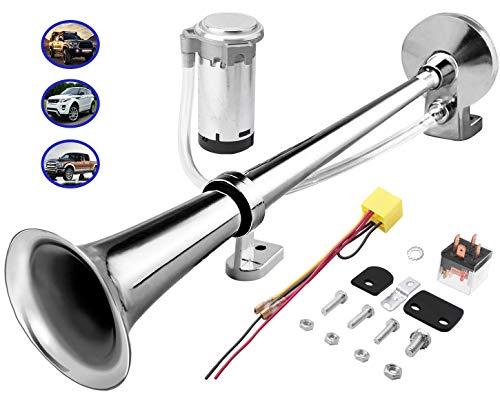 lkw Hupe 12v 150db, super laute 18-Zoll-Chrom-Zink-Einzelhorn-LKW-Lufthupe, mit Kompressor, passend für alle 12V Autos und boote (Silber)