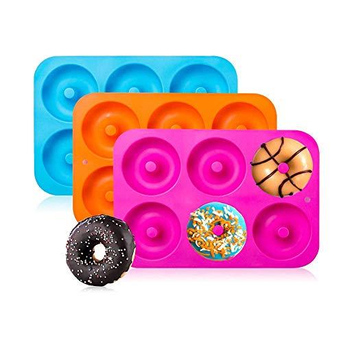 Voarge 3 Stück Silikon Donut Formen, für Kuchen Keks Bagels Muffins Kuchen für Geschirrspüler, Backofen, Mikrowelle, Kühlschrank, Silikon Donutform Donut Backform Form Blatt Behälter
